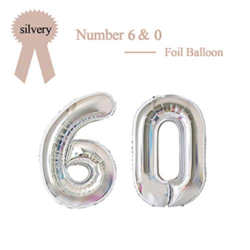 40 Inch Silver 60 Number Foil Balloon 60th Birthday Party Supplies Anniversary Events Graduation Decorations ()