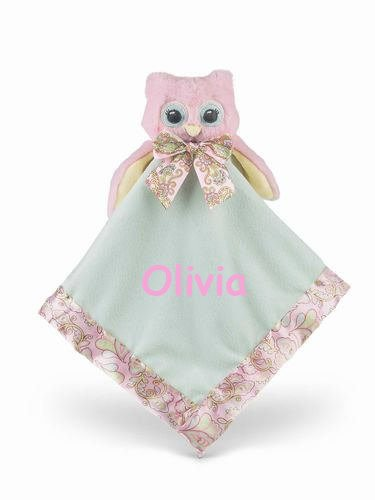 Bearington Personalized Baby Little Hoots Owl Pink Snuggler Baby Blanket - 15 Inches