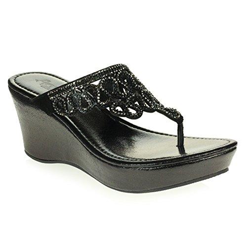 Glisser sur Cristal léger Open Taille Femmes Chaussures Toe des Talon Décontractée Confort Dames compensé Poids Noir Diamante Sandales Bas 0qxBxw81