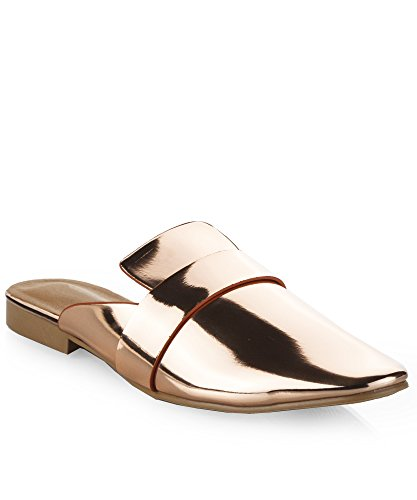 Bow Mule (RF ROOM OF FASHION Women's Mule Slip On Loafer Flats Rose Gold (7))