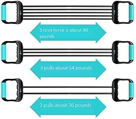 Dilatador de pecho doble capa 5 tubo resistencia sistema de ejercicio y resistencia banda fuerza entrenamiento dispositivo dilatador de pecho fitness con cubierta de seguridad antideslizante manija: Amazon.es: Deportes y aire libre