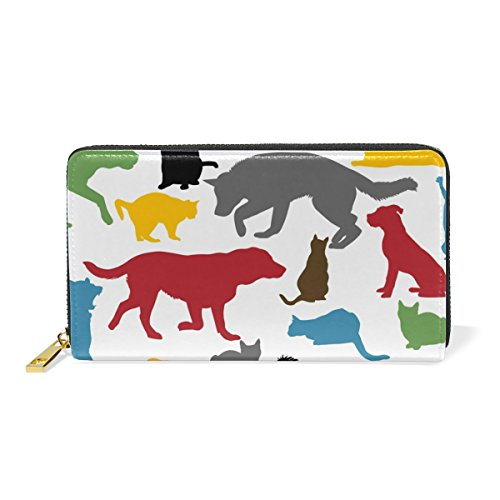 Womens And Zip Organizer Colorful TIZORAX Purses Clutch Around Handbags Wallet And Cats Dogs 06EvvIq