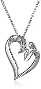 """Women's Sterling Silver, Diamond, Mother and Baby Heart Pendant Necklace, (0.02 cttw, I-J Color, I2 Clarity), 18"""""""