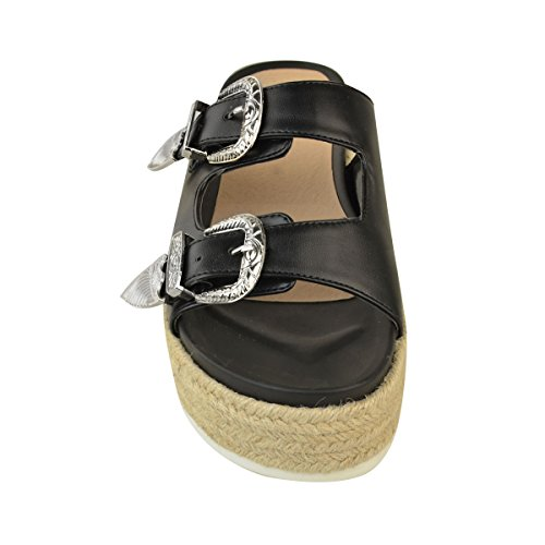 Heelberry® Womens Ladies Slip On Sliders Sandals Flatforms Comfy Platform Summer Shoes Size Black Faux Leather nAIHul
