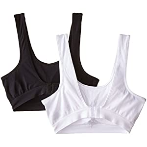 Fruit of the Loom Women's Seamless Sport Bra With Cookies, White/Black, Large(Pack Of 2)