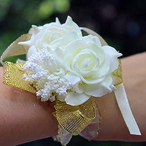 hwangli Rose Flowers Bridal Bridesmaid Wrist Corsage Wedding Party Ribbon Bracelet White 90