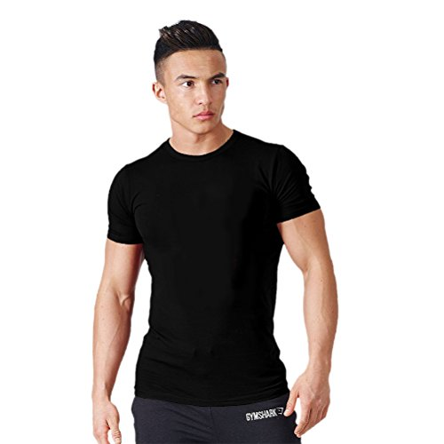WWL Fashion Mens Crew Neck Bodybuilding Training Retro Basic Breatnable Muscle Slim Fit T-Shirt (What To Wear To 80s Party)
