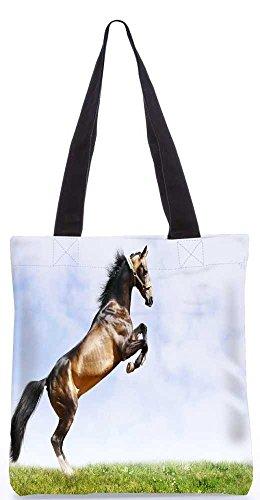 """Snoogg Abstrakt Pferd Stehend Tragetasche 13,5 X 15 In """"Einkaufstasche Dienstprogramm Trage Aus Polyester Leinwand"""