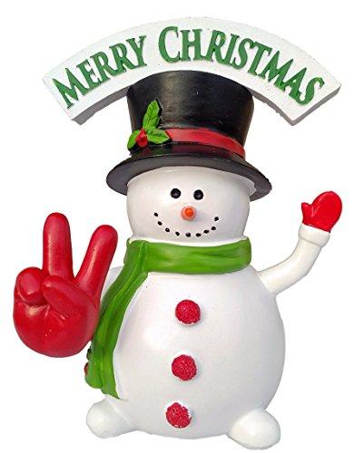 "New Funny Christmas Gift SnowMan Peace Sign ""Merry Christmas"" Bobble Finger Bobblehead LOVE holiday spirit"
