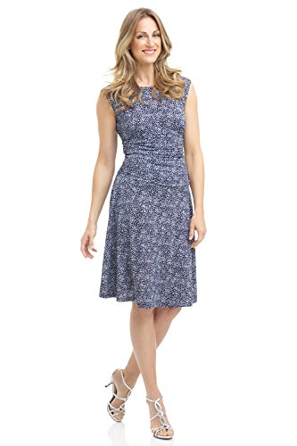 Rekucci Women's Slimming Pull on Fit and Flare Tummy Control Dress w/Cap Sleeves (4,Navy Ivory - Print Confetti Dress
