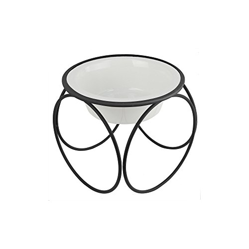 Platinum Pets Single Olympic Diner Feeder with Stainless Steel Dog/Cat Bowl, 1.25 cup/10 oz, Pearl White