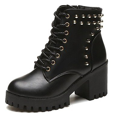 Best Maiharit Chunky Paras 4u Pitsi Paksu Casual Pyöreän Black Lasku Combat Pu Musta Toe Boots Pu Shoes Round up Kenkiä Kantapää Heel Fall up 4u Women's Toe Rento Lace Naisten For BqwrBz