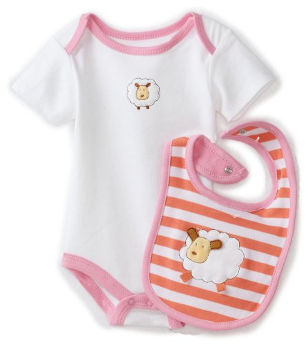 ABSORBA Baby-Girls Newborn Tender Touch Bodysuit and Bib Set