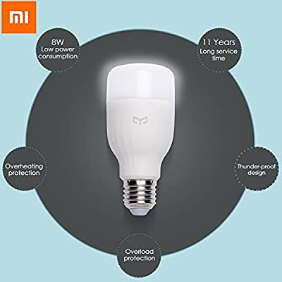 Original Xiaomi Mi Yeelight E27 8W White LED Smart Light Bulb Smartphone App WIFI Control 220V / . . Brief Introduction : . . . Original Xiaomi Yeelight E27 Smart LED Bulb is a great hom