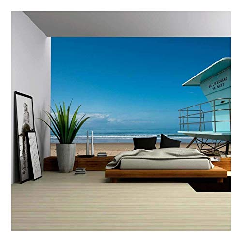 wall26 - Lifeguard Hut at Beach in Southern California - Removable Wall Mural | Self-Adhesive Large Wallpaper - 66x96 inches