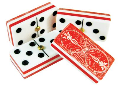 Domino Double Six Red Bicycle Card Back - Deluxe Case by Marion