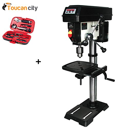 Toucan City Tool kit (9-piece) and JET 1/2 HP 12 in. Benchtop Drill Press, Variable Speed, 115-Volt, JWDP-12 716000