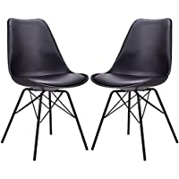 Giantex Set of 2 Dining Chair Upholstered Armless Mid Century Modern Style with Padded Seat Metal Legs (Black)