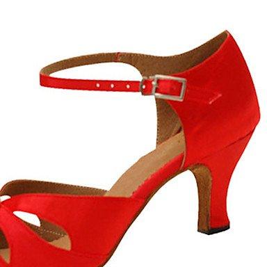 XIAMUO Anpassbare Damen Tanz Schuhe Satin Latin/Jazz/Swing Salsa Schuhe/Sandalen/Fersen angepasste HeelPractice/Anfänger, Rot, US 9 / EU 40/UK7/CN41