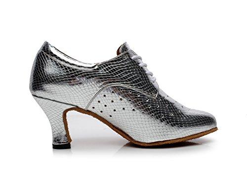 Latin 3 Inch Ladies Salsa Shoes Dance Tango MINITOO Synthetic QJ7048 Silver Heel ZSq6pn1