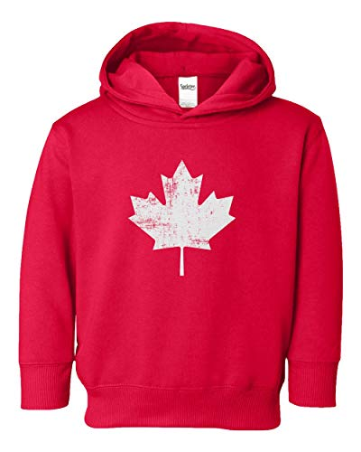 Canada Pride Vintage Style Retro-Feel Canadian Maple Leaf Youth & Toddler Hoodie Sweatshirt (Red,5T/6T) ()
