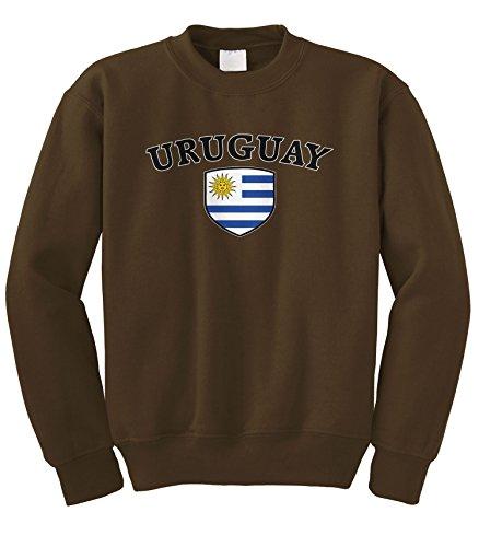 - Cybertela Uruguay Flag Crest Shield Crewneck Sweatshirt (Brown, 2X-Large)