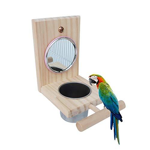 (TEEPAO 1 Way Mirror Bird Feeder, Wooden Bird Fun Play Toys Parrot Mirror with Stainless Steel Food Bowl for Budgies Cockatoo Lovebird Etc)