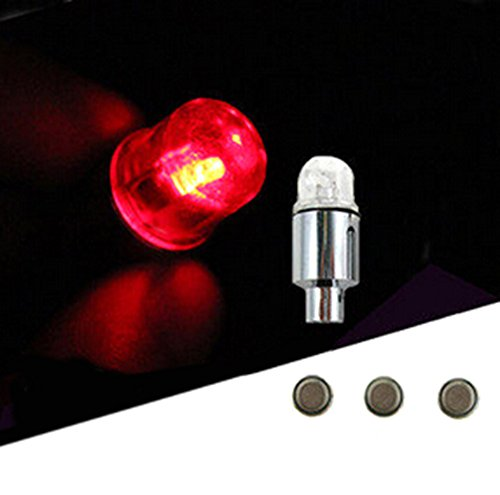 Big Dragonfly Pack of 4 LED Automatic Tyre Wheel Tire Valve Cap Light for Car Bike Bicycle Motorbicycle (Red) (Red Led Caps Valve)