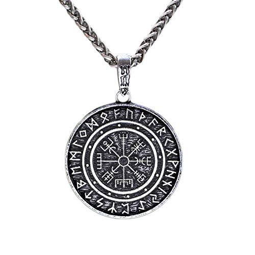 Compass On Chain (IMIKE Handcrafted Nordic Viking Compass Norse Amulet Pendant Necklace Great Collection Jewelry Accessories Ornaments Perfect Gifts for Men)