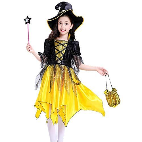 MaxTide Girl's Halloween Dress Girl's Yellow Fairy Princess Dress Costume(140cm(Height 55 -