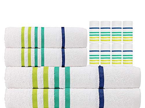 Designer Bath - CASA COPENHAGEN Edition 2019 Exotic Cotton 475 GSM 12 Pieces Designer Bath, Hand & Washcloth Towels Gift Set - White