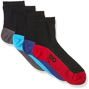 Rio Men's Cotton Blend Active Quarter Crew Socks (4 Pack), Black, 11+