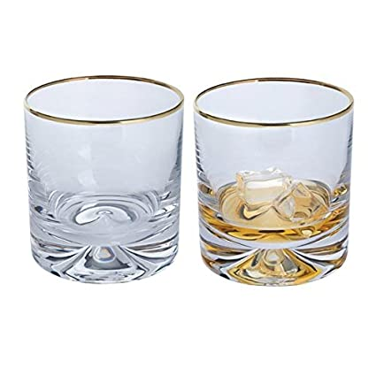 d1abc475be7b Pair of Dimple Gold Old Fashioned Whiskey Glasses with Gold Rim  Amazon.co.uk   Kitchen   Home