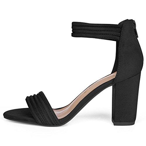 Allegra K Womens Strappy Zip Upp Chunky Hög Klack Sandaler Skor Svart
