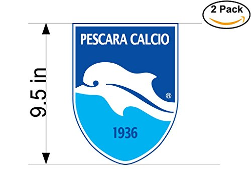 Pescara Calcio Italy Soccer Football Club FC 2 Stickers Car Bumper Window Sticker Decal Huge 9.5 inches by CanvasByLam