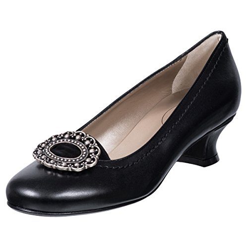 Glattleder Pumps in Schwarz von Dirndl + Bua, Schuhgröße:41, Farbe:Schwarz