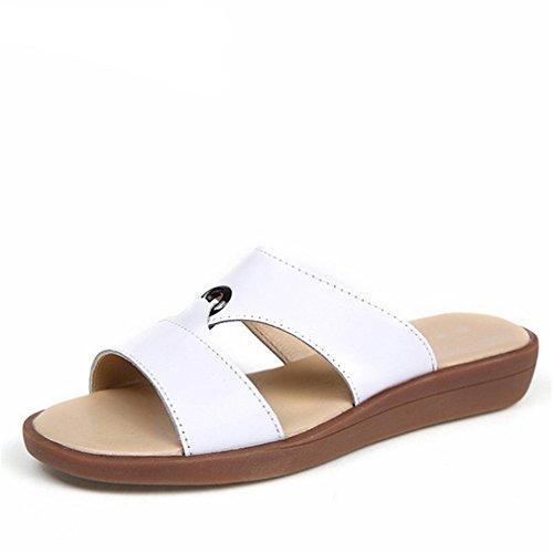 On femmes de cuir Chaussures en Plage Femme Tongs Diapositives Slip Sandales Flats vache Femmes White Summer occasionnels Vraie Loisirs PY5xdqw