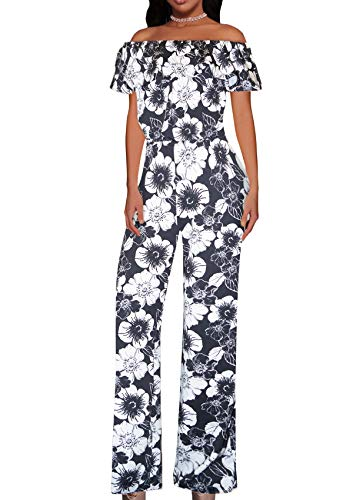 Women High Waist Wide Leg Pants Jumpsuit Romper KPVJ47696X 10910 Black/IVOR 1X ()