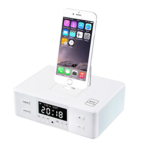 plater wireless d9 digital dual alarm fm clock radio usb port aux jack 4x3w bluetooth 4 0. Black Bedroom Furniture Sets. Home Design Ideas