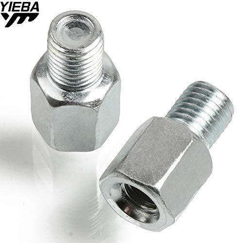 FINCOS Scooter Motorcycle Accessories Reaview Mirrors Bolt Screw Adapter M10 M8 10MM 8MM Thread Convertor Screw for Yamaha Honda Suzuki - (Color: 8MM Sliver)
