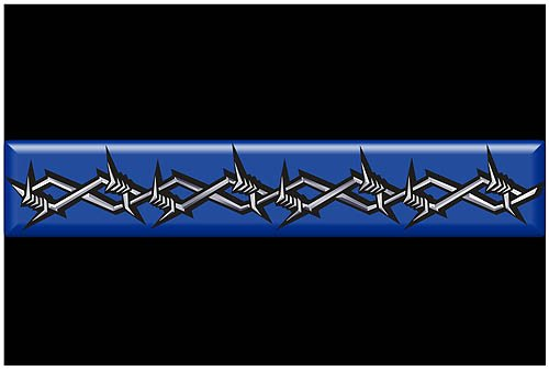 Thin Blue Line Barbed Wire Rectangle Reflective Decal - 3 x 5 Rectangle
