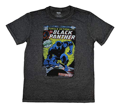 Panther Jungle Book - Mad Engine Marvel Avengers Black Panther Men's Comic Book Short Sleeve T-Shirt (XL, Heather Grey)