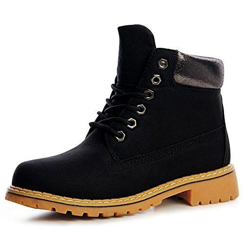 topschuhe24 1210 Damen Worker Boots Stiefeletten Schnürer Metallic Blogger Style Schwarz
