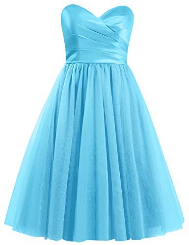 Blau Satin Tüll A Kurz Hochzeit Abendkleider Falten Vintage Ballkleider Linie Schulterfrei Trägerlos Kleider qYnOYZ76