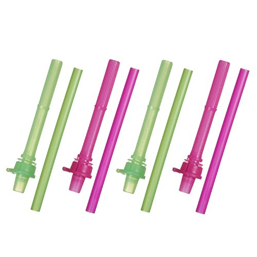Munchkin Click Lock Replacement Straws, Pink/Green, 4-Count