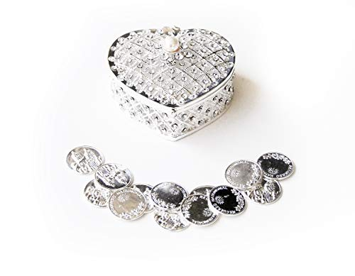 Joice Gift Silver Elegant Rhinestone Heart Wedding Arras Heart Box Set with Unity Coins SH01