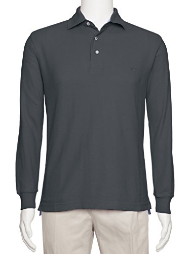 AKA Men's Solid Polo Shirt Classic Fit - Pique Chambray Collar Comfortable Quality Charcoal-Long Sleeve Small