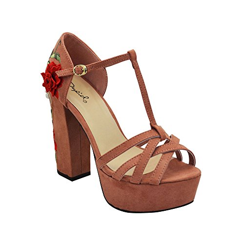 Qupid Crush-32 Womens Embroidered Floral Platfrom Heels Dusty Blush Faux Suede Fmg3aRoHx