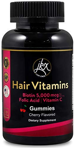 Hair Growth Vitamins with Coconut Oil, Biotin, Vitamins C D E B12 & A, Zinc, Folic Acid, Supports Hair Skin and Nails for Women and Men, Cherry Flavored Gummies (60 Count)