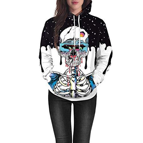iYYVV Halloween Lovers Scary Skull Ghost 3D Print Party Long Sleeve Top Hoodie Shirt Blue]()